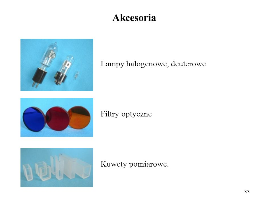 Akcesoria Lampy halogenowe, deuterowe Filtry optyczne