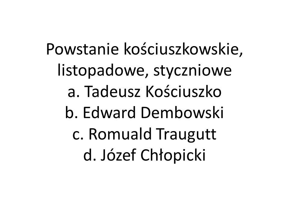 Powstanie kościuszkowskie, listopadowe, styczniowe a