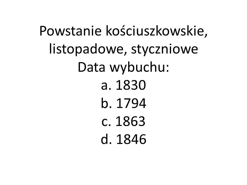 Powstanie kościuszkowskie, listopadowe, styczniowe Data wybuchu: a
