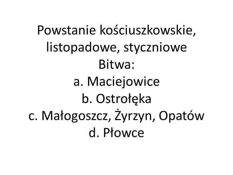 Powstanie kościuszkowskie, listopadowe, styczniowe Bitwa: a