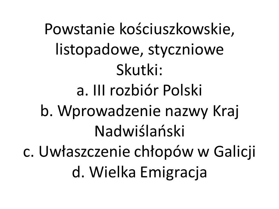 Powstanie kościuszkowskie, listopadowe, styczniowe Skutki: a