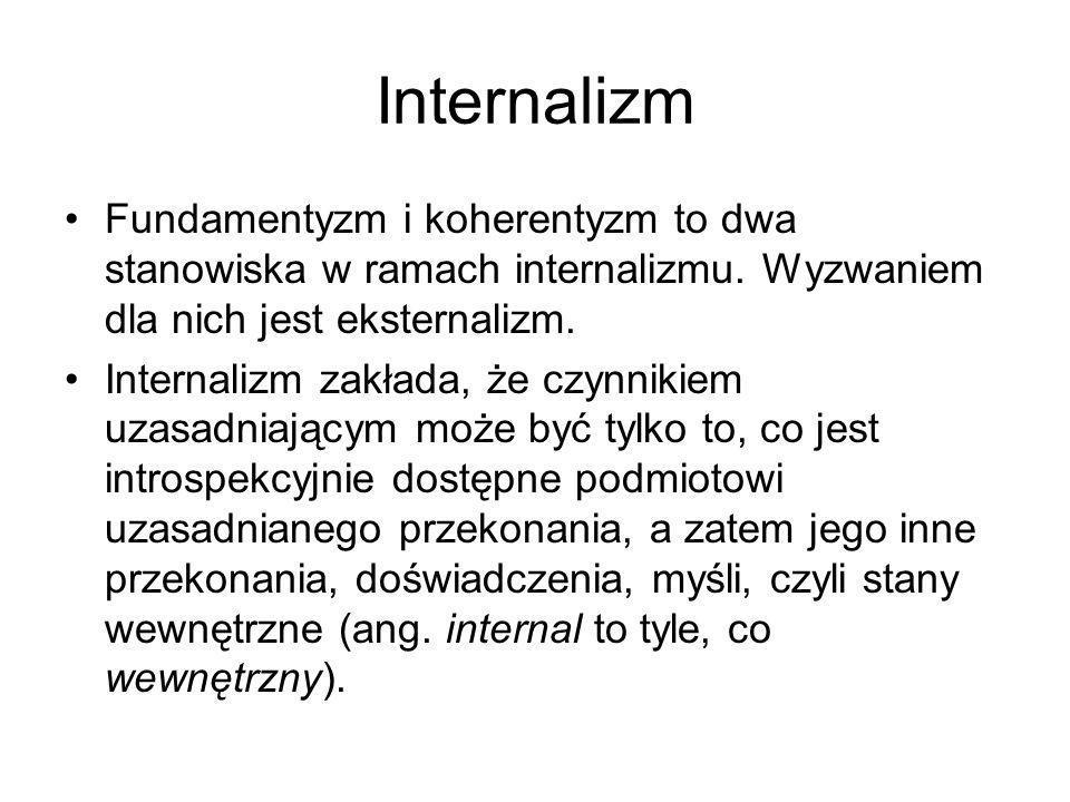 Internalizm Fundamentyzm i koherentyzm to dwa stanowiska w ramach internalizmu. Wyzwaniem dla nich jest eksternalizm.