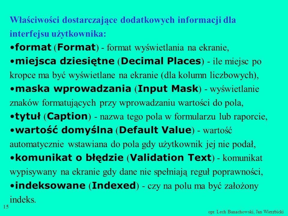 Właściwości dostarczające dodatkowych informacji dla interfejsu użytkownika: