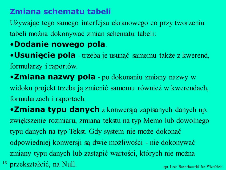 Zmiana schematu tabeli