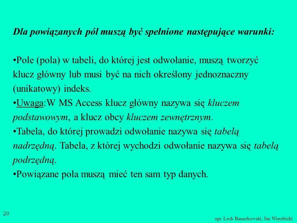 Dla powiązanych pól muszą być spełnione następujące warunki: