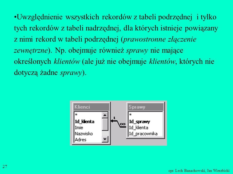 Uwzględnienie wszystkich rekordów z tabeli podrzędnej i tylko tych rekordów z tabeli nadrzędnej, dla których istnieje powiązany z nimi rekord w tabeli podrzędnej (prawostronne złączenie zewnętrzne).