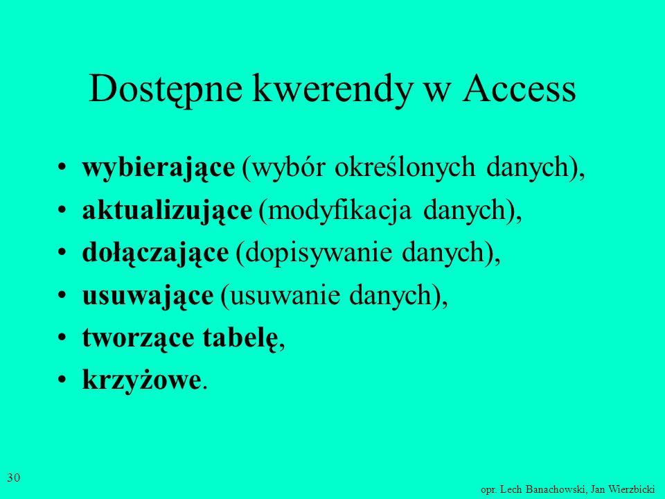 Dostępne kwerendy w Access