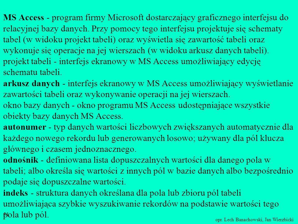 MS Access - program firmy Microsoft dostarczający graficznego interfejsu do relacyjnej bazy danych.