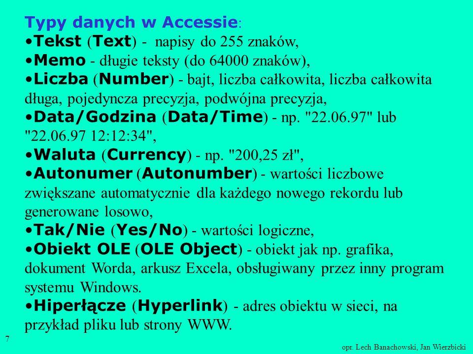 Typy danych w Accessie: