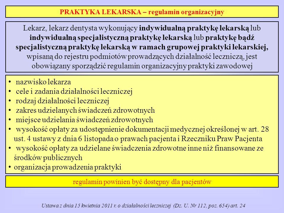 PRAKTYKA LEKARSKA – regulamin organizacyjny