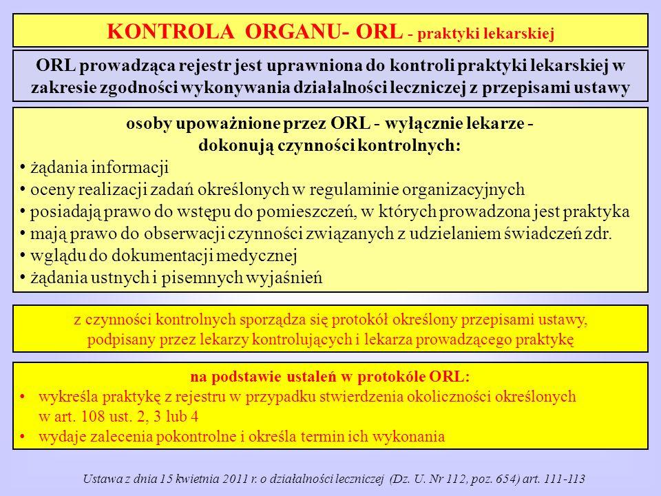 KONTROLA ORGANU- ORL - praktyki lekarskiej