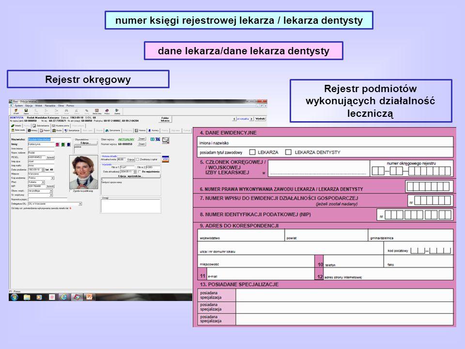 numer księgi rejestrowej lekarza / lekarza dentysty