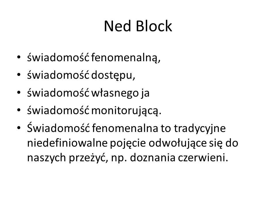 Ned Block świadomość fenomenalną, świadomość dostępu,