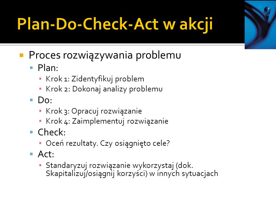 Plan-Do-Check-Act w akcji