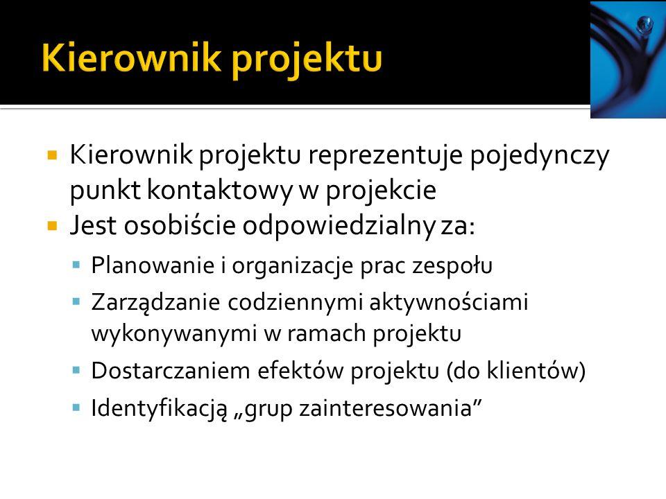 Kierownik projektu Kierownik projektu reprezentuje pojedynczy punkt kontaktowy w projekcie. Jest osobiście odpowiedzialny za: