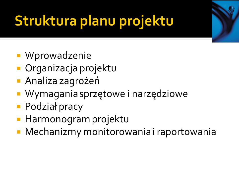 Struktura planu projektu