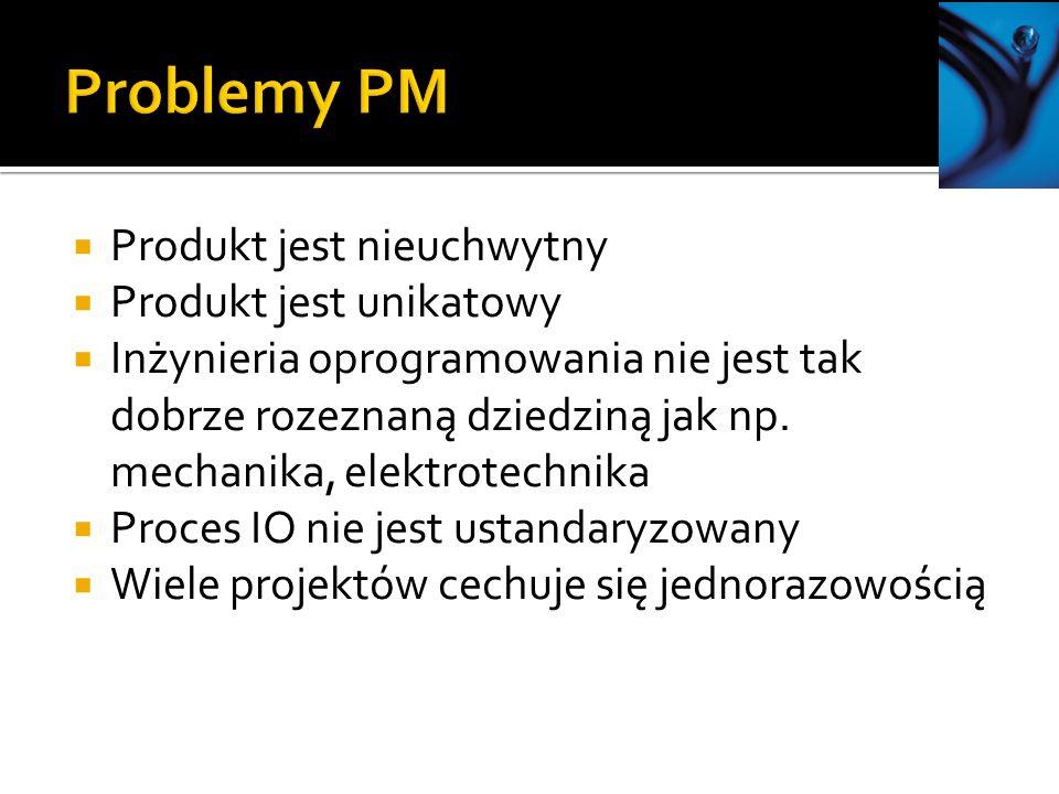 Problemy PM Produkt jest nieuchwytny Produkt jest unikatowy