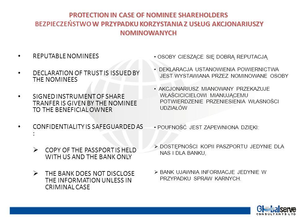 PROTECTION IN CASE OF NOMINEE SHAREHOLDERS BEZPIECZEŃSTWO W PRZYPADKU KORZYSTANIA Z USŁUG AKCJONARIUSZY NOMINOWANYCH