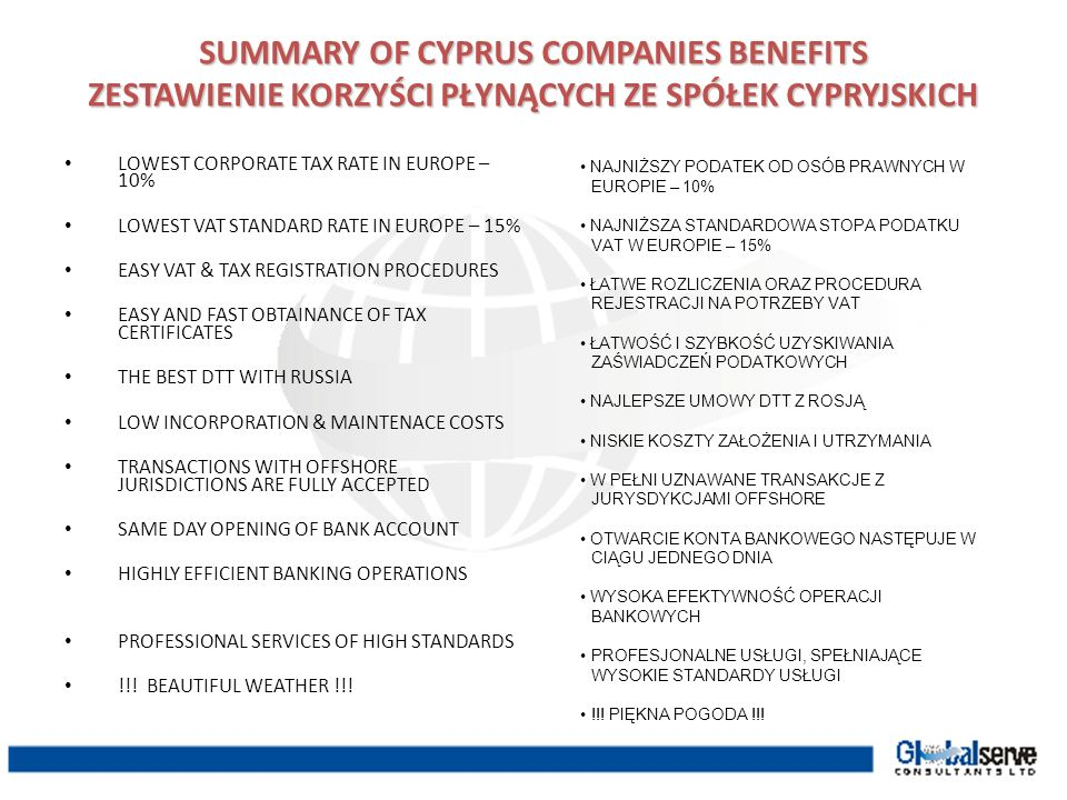 SUMMARY OF CYPRUS COMPANIES BENEFITS
