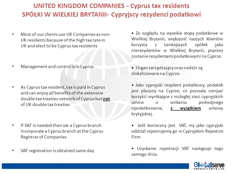 UNITED KINGDOM COMPANIES - Cyprus tax residents SPÓŁKI W WIELKIEJ BRYTANII- Cypryjscy rezydenci podatkowi