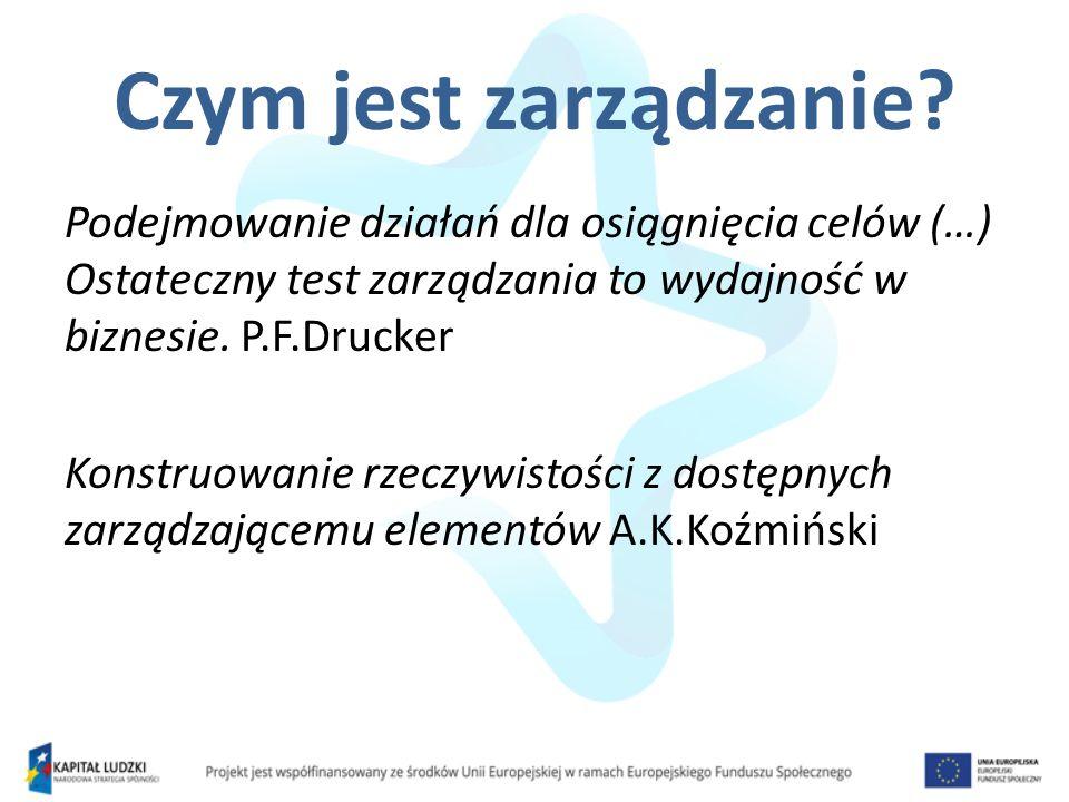 Czym jest zarządzanie Podejmowanie działań dla osiągnięcia celów (…) Ostateczny test zarządzania to wydajność w biznesie. P.F.Drucker.
