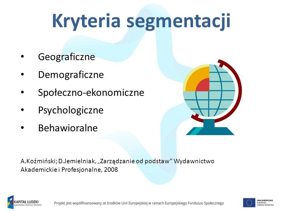 Kryteria segmentacji Geograficzne Demograficzne Społeczno-ekonomiczne