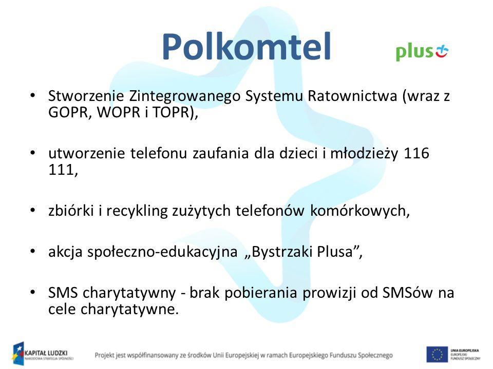 Polkomtel Stworzenie Zintegrowanego Systemu Ratownictwa (wraz z GOPR, WOPR i TOPR), utworzenie telefonu zaufania dla dzieci i młodzieży 116 111,