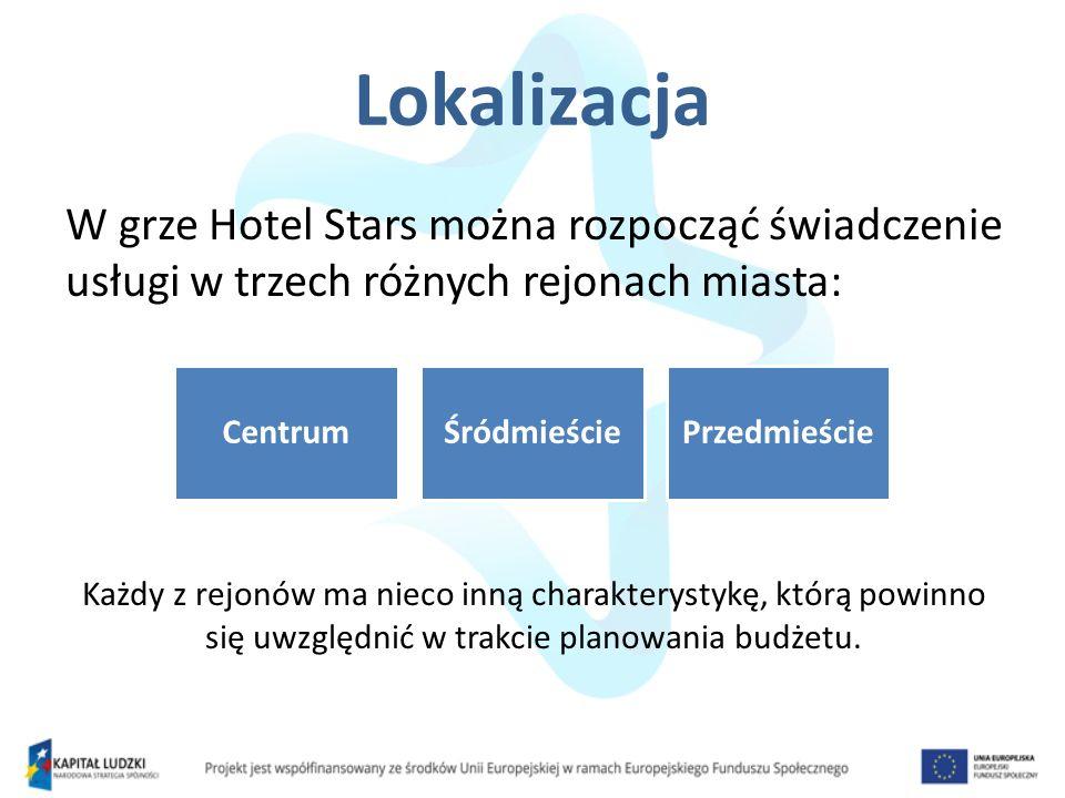 Lokalizacja W grze Hotel Stars można rozpocząć świadczenie usługi w trzech różnych rejonach miasta: