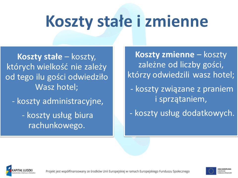 Koszty stałe i zmienne Koszty stałe – koszty, których wielkość nie zależy od tego ilu gości odwiedziło Wasz hotel;
