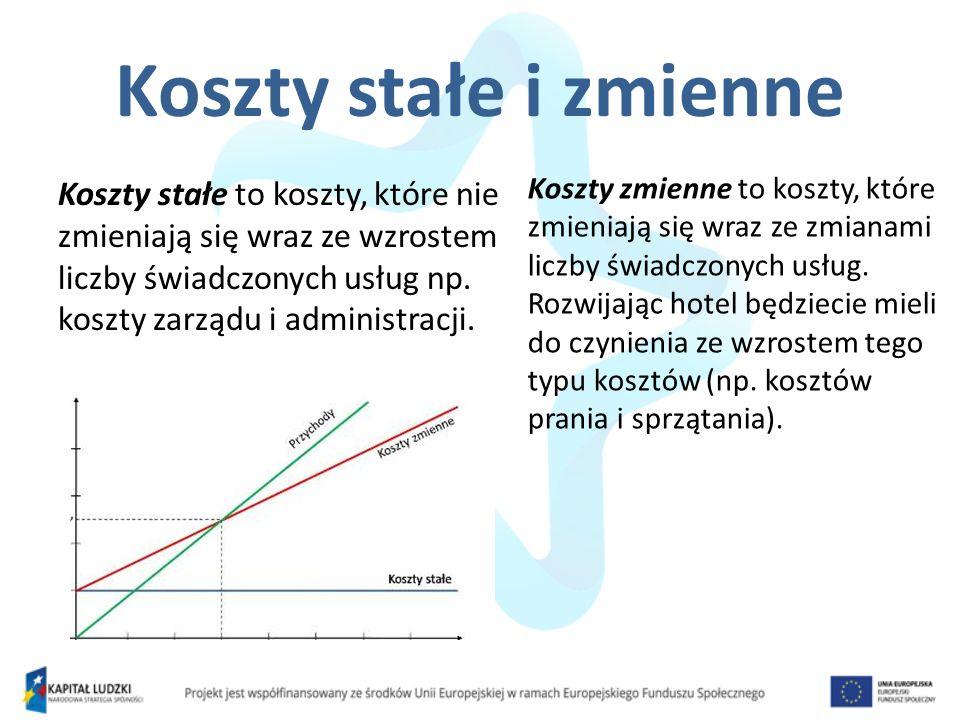 Koszty stałe i zmienne Koszty stałe to koszty, które nie zmieniają się wraz ze wzrostem liczby świadczonych usług np. koszty zarządu i administracji.