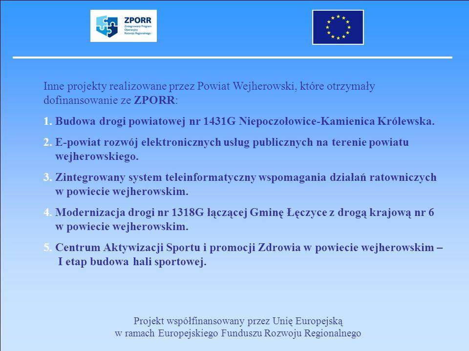 Inne projekty realizowane przez Powiat Wejherowski, które otrzymały dofinansowanie ze ZPORR: