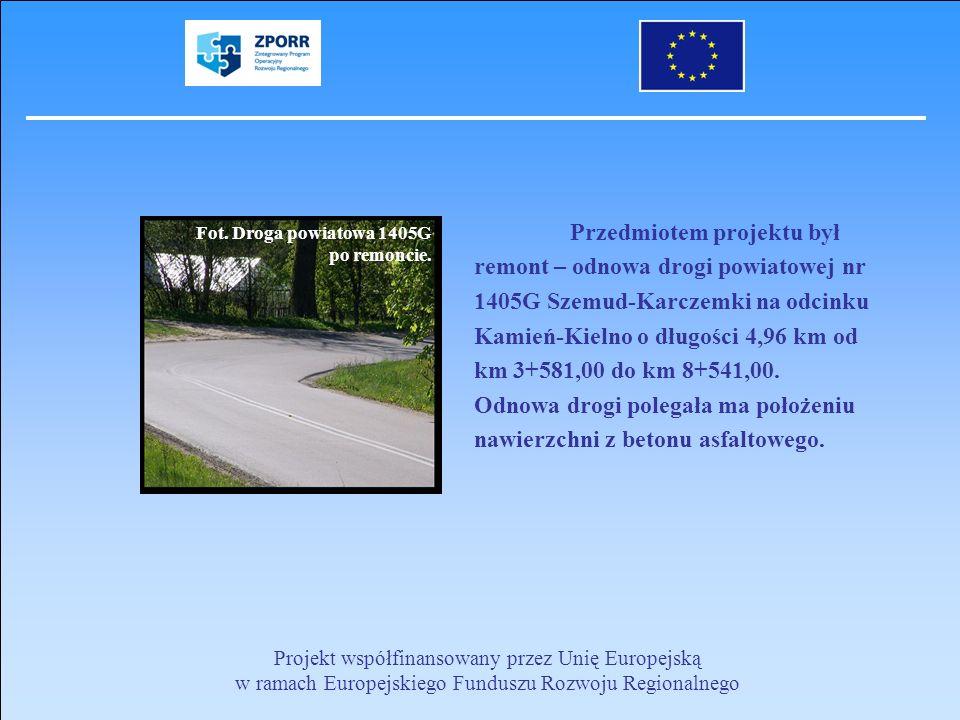 Przedmiotem projektu był remont – odnowa drogi powiatowej nr 1405G Szemud-Karczemki na odcinku Kamień-Kielno o długości 4,96 km od km 3+581,00 do km 8+541,00. Odnowa drogi polegała ma położeniu nawierzchni z betonu asfaltowego.