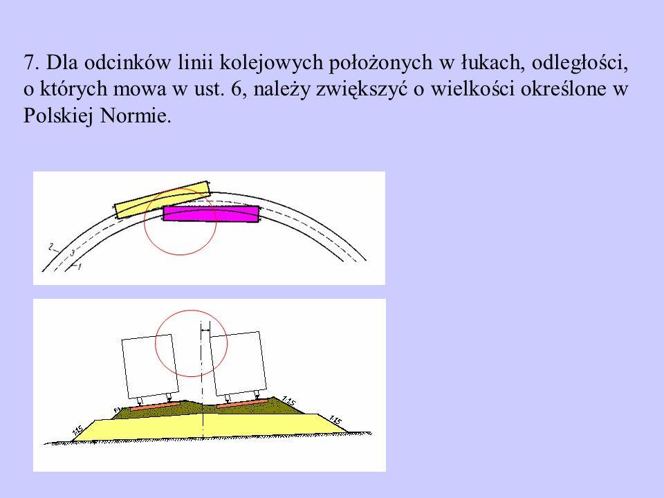 7. Dla odcinków linii kolejowych położonych w łukach, odległości, o których mowa w ust. 6, należy zwiększyć o wielkości określone w Polskiej Normie.