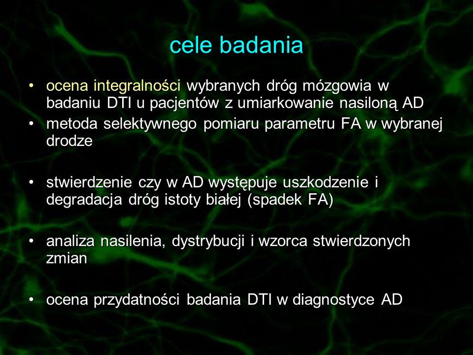 cele badania ocena integralności wybranych dróg mózgowia w badaniu DTI u pacjentów z umiarkowanie nasiloną AD.