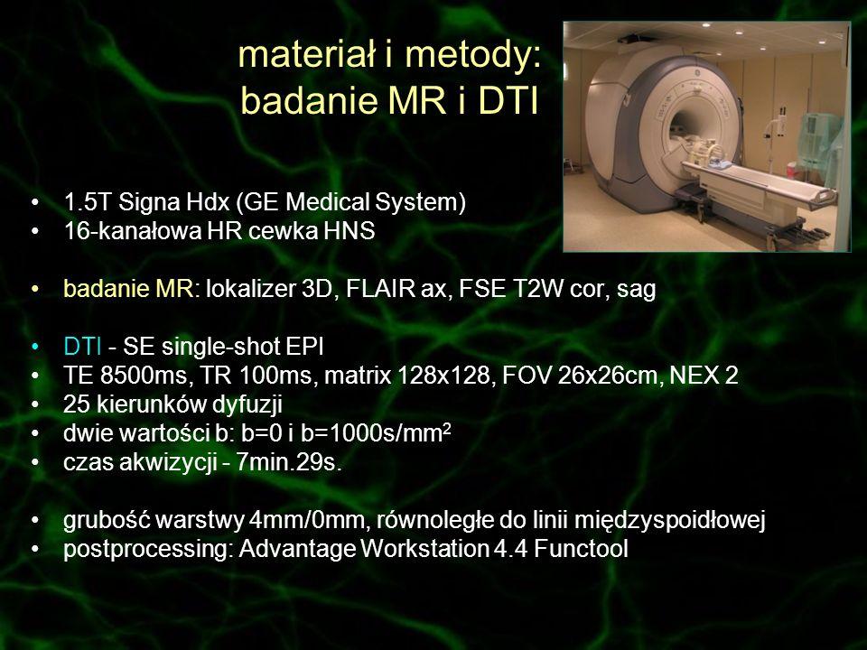materiał i metody: badanie MR i DTI