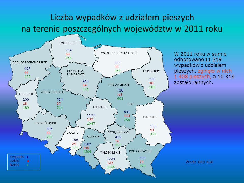 Liczba wypadków z udziałem pieszych na terenie poszczególnych województw w 2011 roku