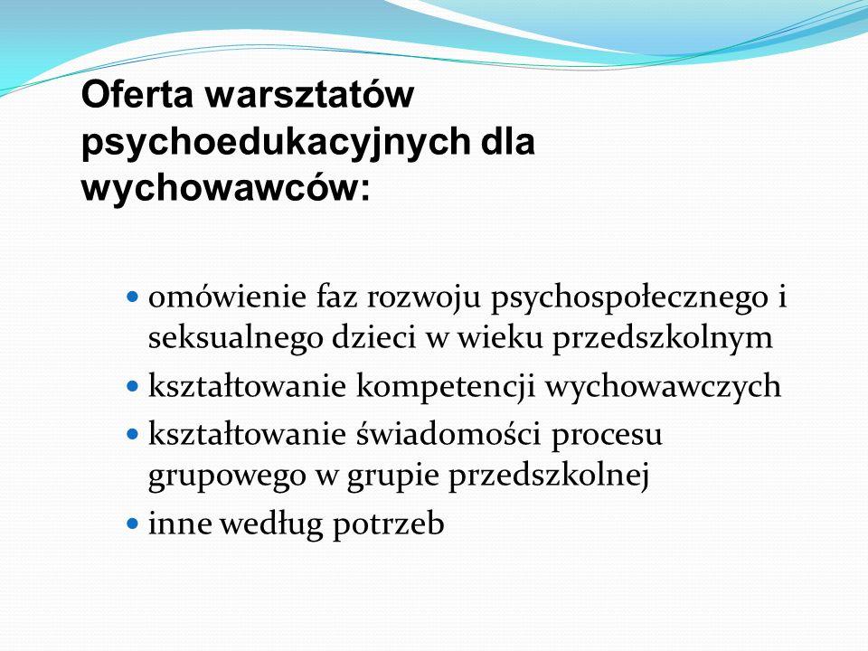 Oferta warsztatów psychoedukacyjnych dla wychowawców: