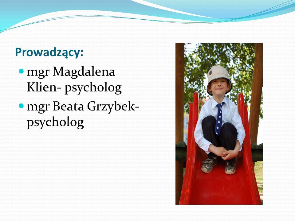 Prowadzący: mgr Magdalena Klien- psycholog mgr Beata Grzybek- psycholog