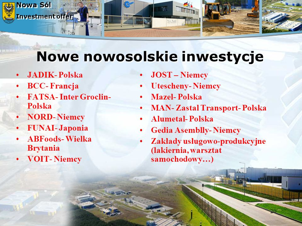 Nowe nowosolskie inwestycje