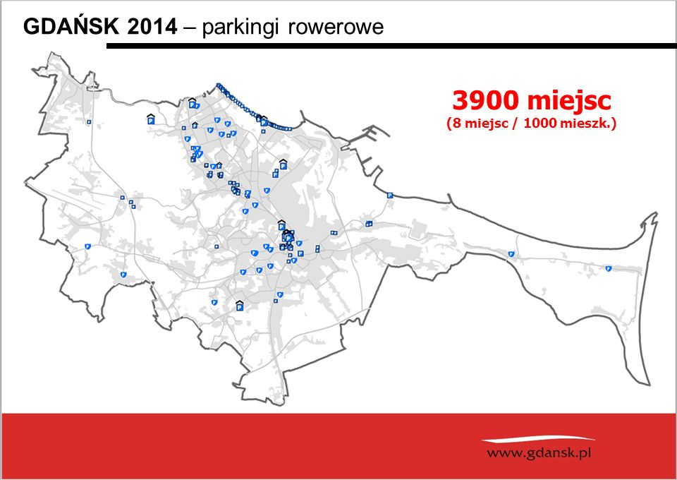 3900 miejsc GDAŃSK 2014 – parkingi rowerowe (8 miejsc / 1000 mieszk.)