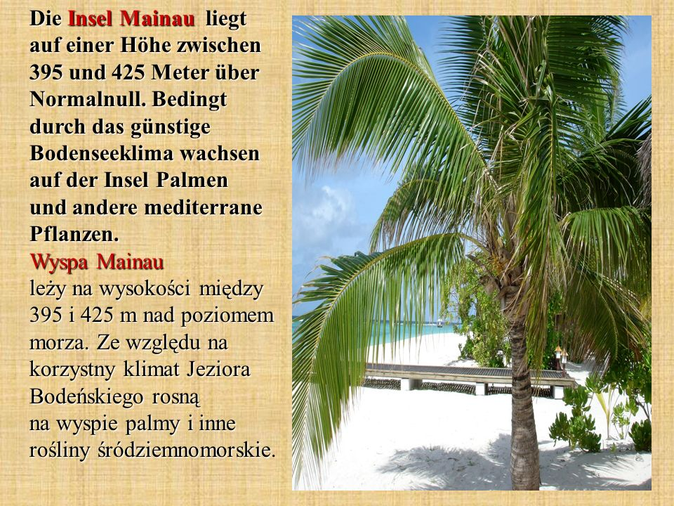 Die Insel Mainau liegt auf einer Höhe zwischen 395 und 425 Meter über Normalnull.