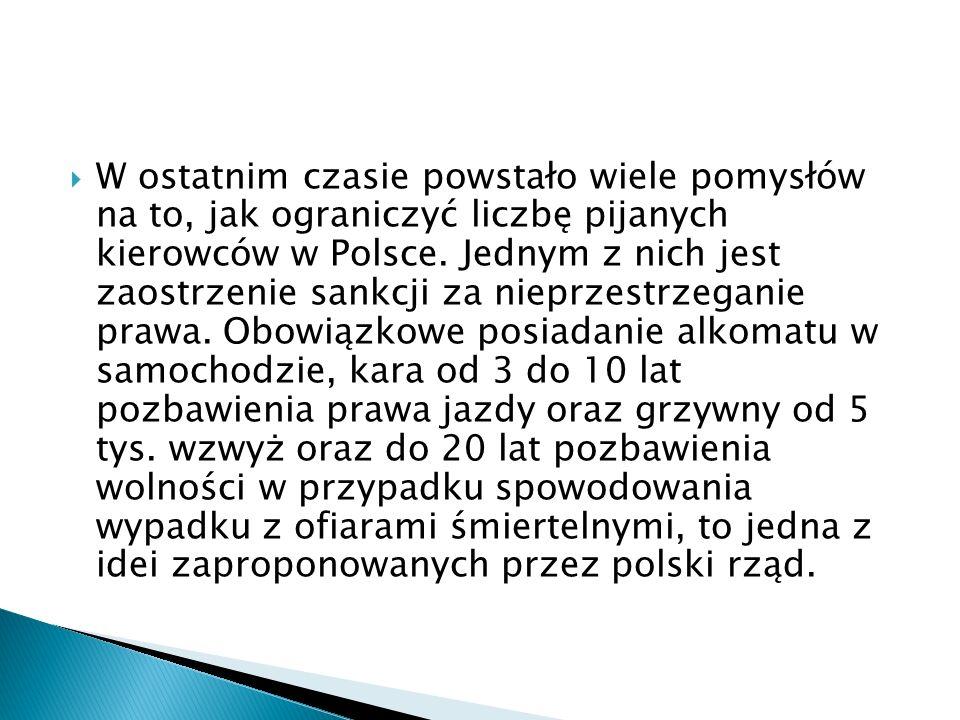 W ostatnim czasie powstało wiele pomysłów na to, jak ograniczyć liczbę pijanych kierowców w Polsce.