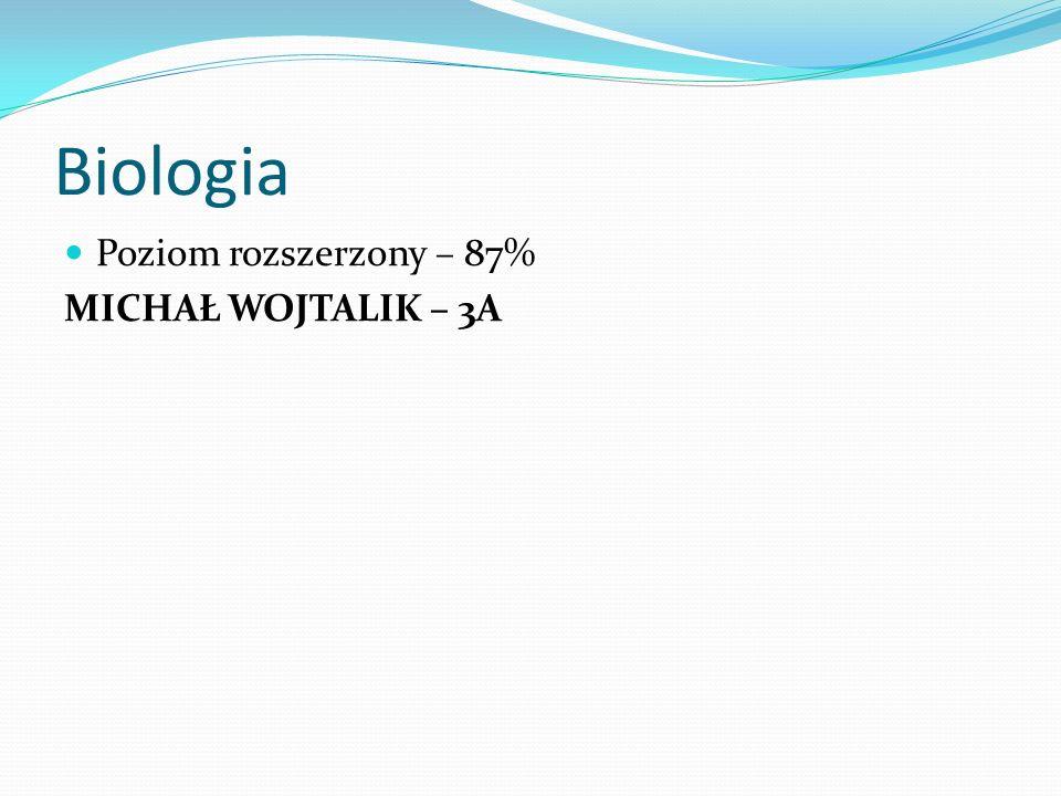 Biologia Poziom rozszerzony – 87% MICHAŁ WOJTALIK – 3A