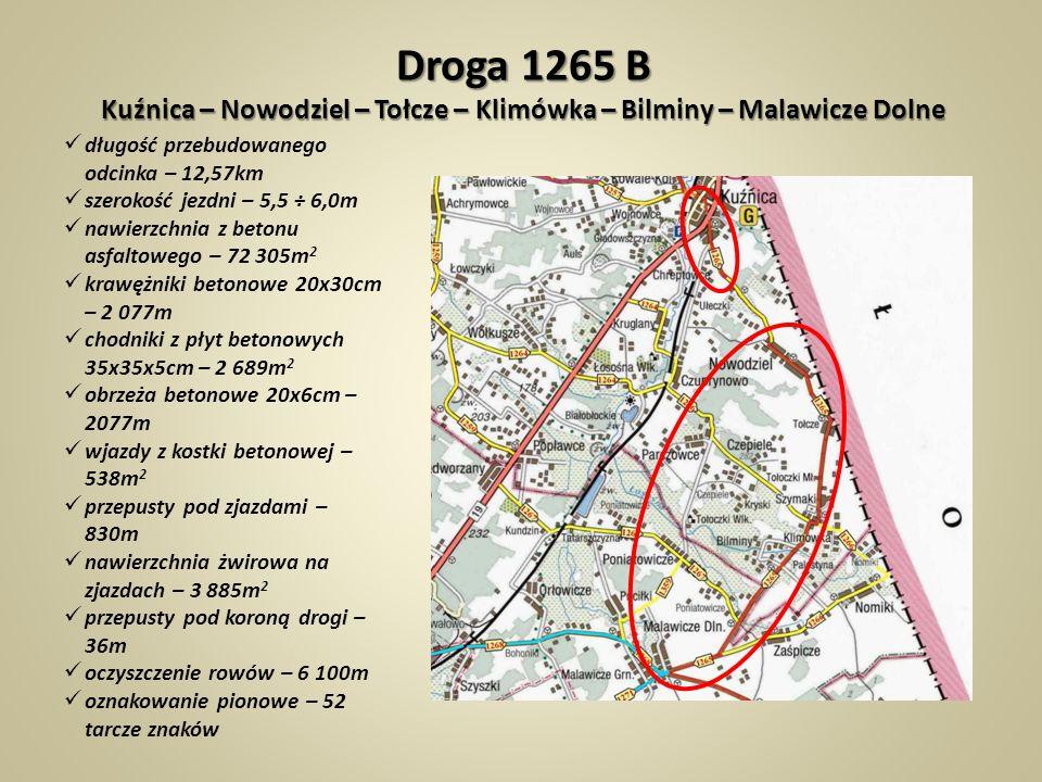 Droga 1265 B Kuźnica – Nowodziel – Tołcze – Klimówka – Bilminy – Malawicze Dolne
