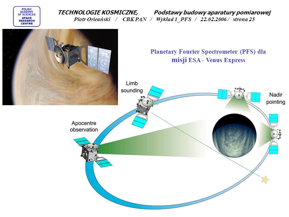 Planetary Fourier Spectrometer (PFS) dla misji ESA - Venus Express