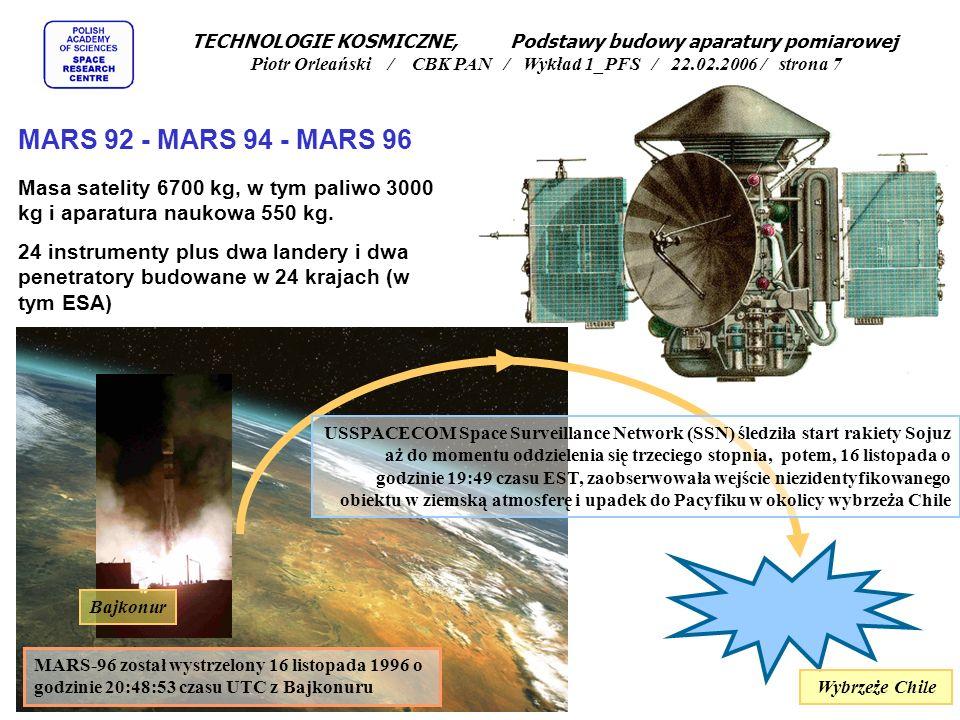 TECHNOLOGIE KOSMICZNE, Podstawy budowy aparatury pomiarowej Piotr Orleański / CBK PAN / Wykład 1_PFS / 22.02.2006 / strona 7