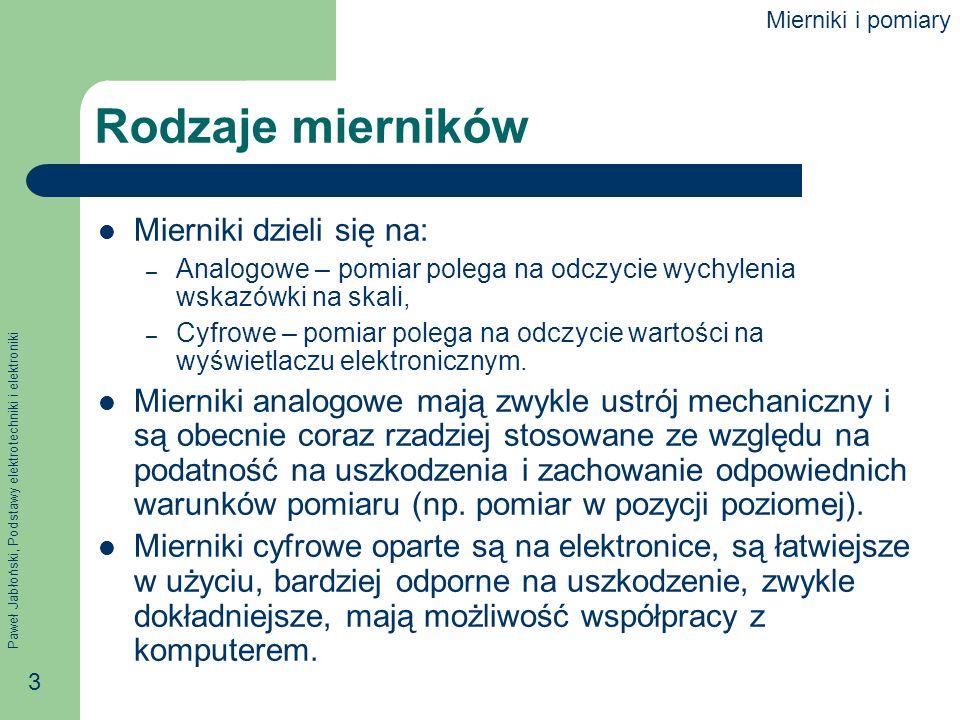 Rodzaje mierników Mierniki dzieli się na: