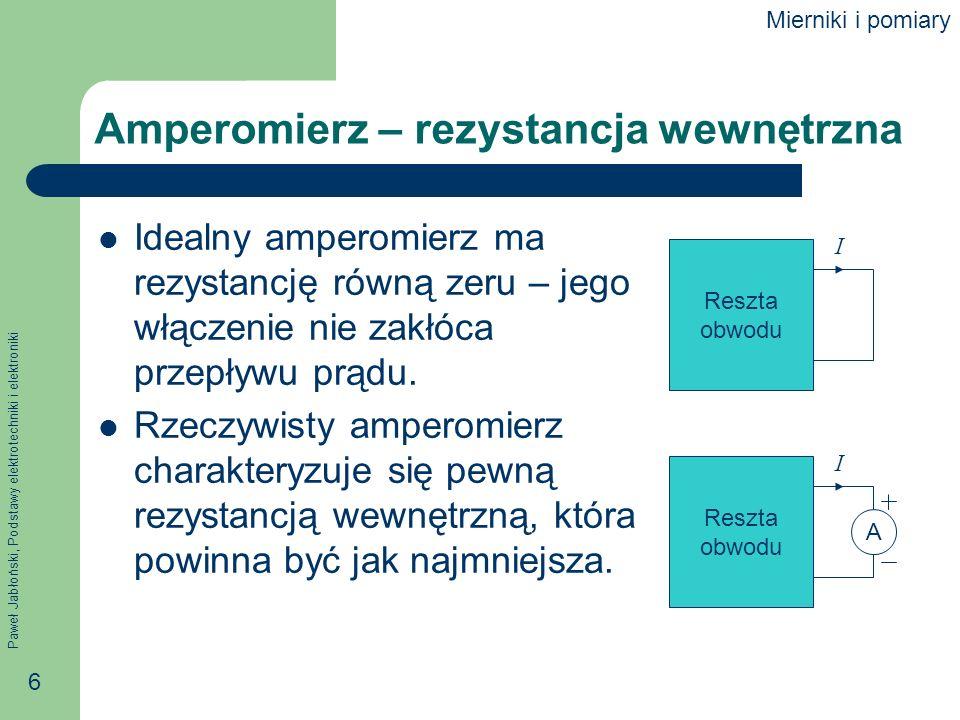 Amperomierz – rezystancja wewnętrzna