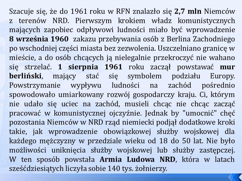 Szacuje się, że do 1961 roku w RFN znalazło się 2,7 mln Niemców z terenów NRD.