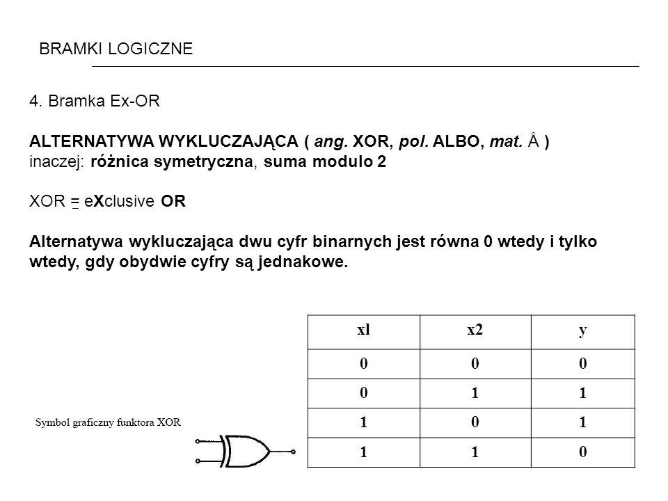 BRAMKI LOGICZNE 4. Bramka Ex-OR. ALTERNATYWA WYKLUCZAJĄCA ( ang. XOR, pol. ALBO, mat. Å ) inaczej: różnica symetryczna, suma modulo 2.